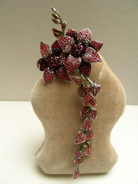 Fabulous Costume Crystal  Red Magnolia Brooch