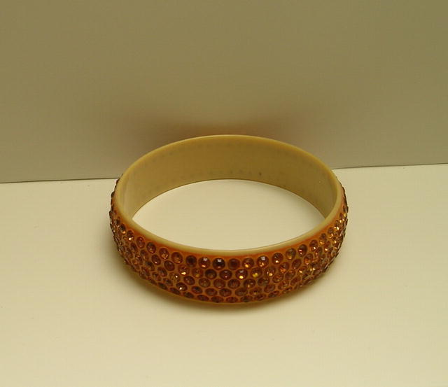 Vintage Celluloid Gold 5 Row Bangle