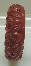 Bakelite  Chocolate  Lotus Carved Bangle