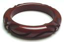 Dark Chocolate Brown Bakelite Carved Bangle