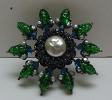 Miriam Haskell Pearl and Glass brooch