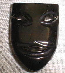 Bakelite Black Drama Mask Brooch