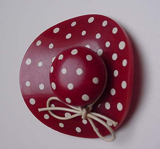 Bakelite Vintage Red Hat with white dots brooch