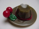 Bakelite Green Hat with Red Cherries Pin