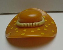 Bakelite Butterscotch Vintage Hat with Dots