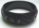 Bakelite Carved Black Bangle Bracelet