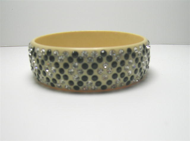 Celluloid vintage Wide Black and Clear Bangle