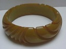 Bakelite Olive Carved Bangle Bracelet