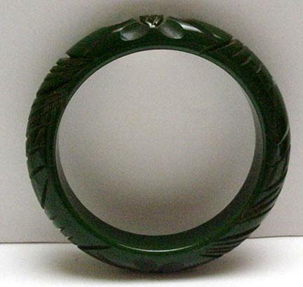 Bakelite Vintage Dark Green Carved Bangle Bracelet