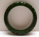 Bakelite Dark Green Vintage Deeply Carved Bangle Bracelet