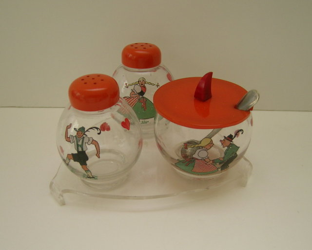 Bakelite & Glass 3 Piece Swiss Cruet