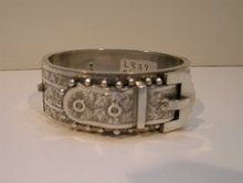 Dynamic Victorian Sterling Silver Buckle Bangle