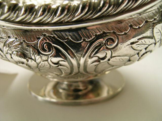 George III Sterliing Silver Chased Sauce Boat