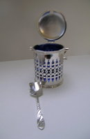 Victorian Silver Plated Jam with Blue Glass