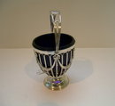 English Sterling silver Sugar Bowl with Blue