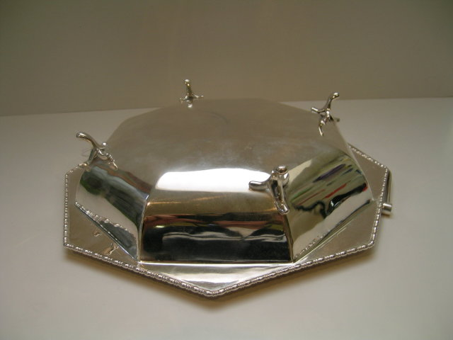 English Deco Silverplate Basket with Handle
