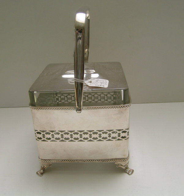 Victorian Silverplate and Glass Biscuit Box