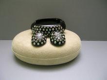 Lucite Black Rhinestone Bangle and  Earrings