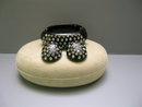 Lucite Black Rhinestone Bangle and  Earrings