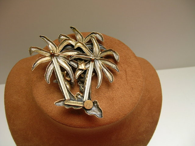 Joseff Palm Trees and Angel Brooch