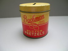 Bachman Pretzels Advertising Tin Bank