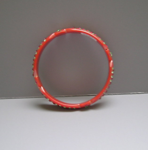 Celluloid Pearlized Pink Bangle with Hot Pink &