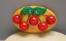 Bakelite Vintage Large Cherries Brooch