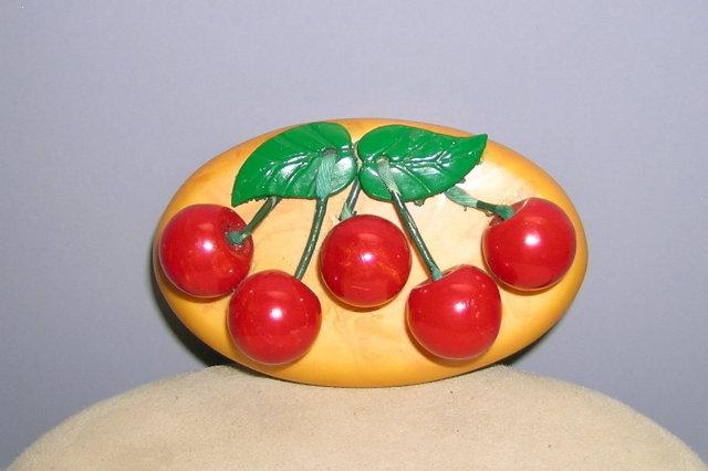 Bakelite Vintage Large Cherries Brooch