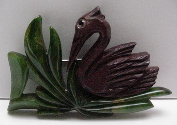 Bakelite and wood vintage swan brooch