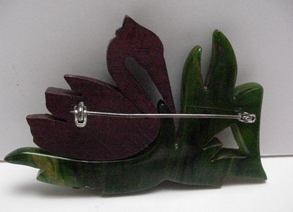 Bakelite and wood vintage swan brooch