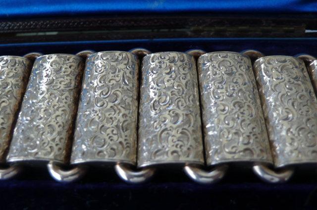 Victorian Sterling Etched Wide Link Bracelet
