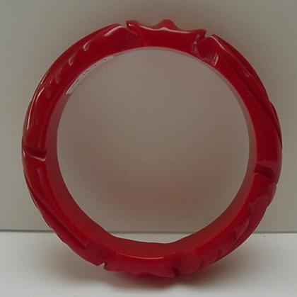 Bakelite Vintage Carved Red Leaf Bracelet
