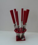 Bakelite Vintage Red Fruit Knives/Stand