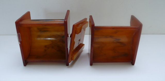 Bakelite Set Butterscotch Vanity Boxes