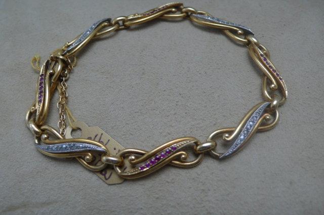 18 Ct. Gold Diamond and Ruby Bracelet