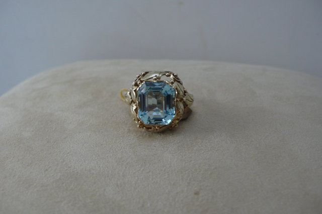 Art Nouveau  14 CT. Austrain Aquamarine Ring