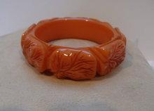Bakelite Vintage  Carved Apricot Leaf Bangle