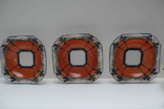 Shelley Orange Sunset & Trees Bowl & 6 small
