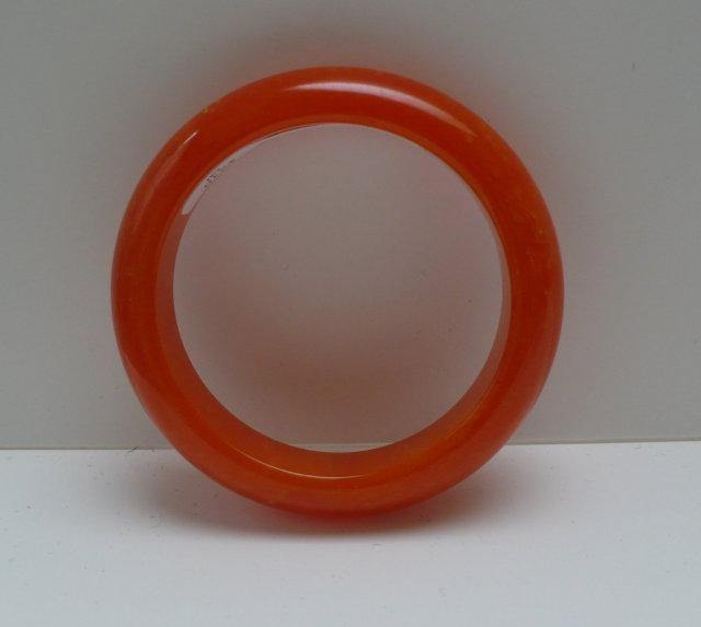 Bakelite Chunky Bright Orange Marbled Bangle