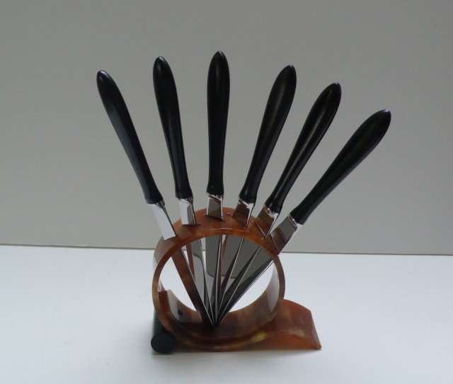 Bakelite Deco Knives and Stand