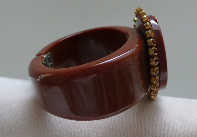 Bakelite Hinged Mayan Head Bangle