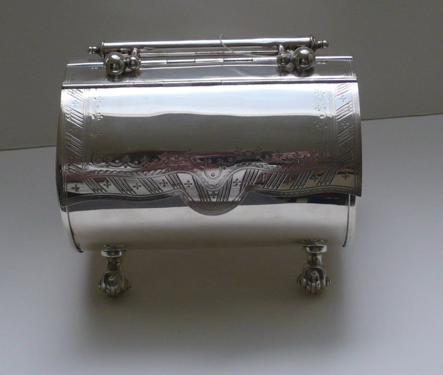 Victorian Silverplate Pocketbook Biscuit Box