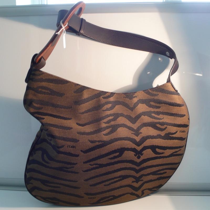 Fendi Cloth, Leather, Wood Shoulder Bag