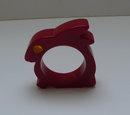 Bakelite Red Bunny Napkin Ring & Eye