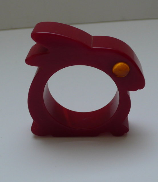 Bakelite Red Bunny Napkin Ring & Eye