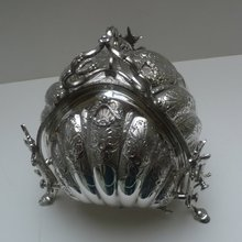 Victorian Silverplate 3 Sided Biscuit Box