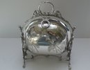 Victorian Silver Plate Thistle Design Biscuit Box