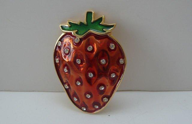 Butler & Wilson Enamel  Rhinestone Strawberry