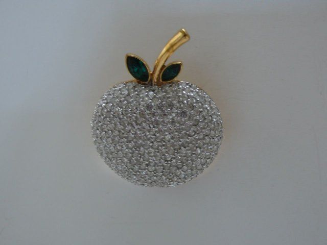 Butler & Wilson Rhinestone Apple Brooch
