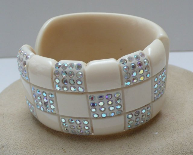 Lucite Checkerboard Hinged Rhinestone